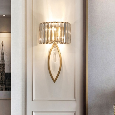 Prismatic Crystal Arched Wall Lamp Postmodern 2 Bulbs Gold Sconce Light for Corridor