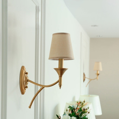 Retro Style Candle Wall Light Sconce Metallic Wall Mounted Lighting with Empire Shade