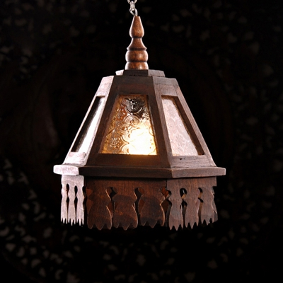 Tapered Carved Glass Pane Pendant Light Traditional 1 Head Restaurant Pendulum Light in Brown