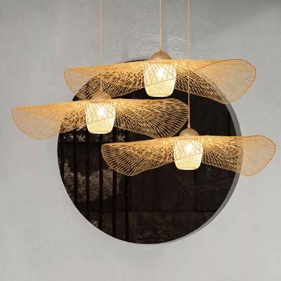 Bamboo Lotus Leaf Suspension Light Simplicity 1-Light Pendant Light Fixture in Wood