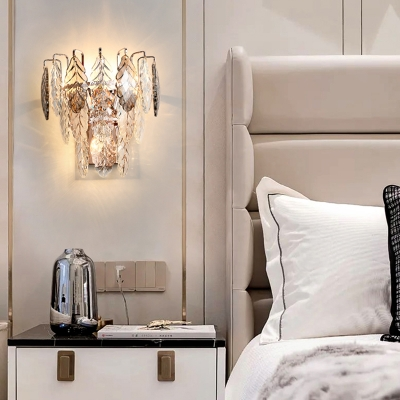 Clear K9 Crystal Leaf Wall Lamp Contemporary 3 Lights Rose Gold Wall Sconce Light for Bedroom