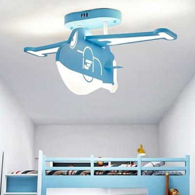 Metal Aircraft Flush Mount Ceiling Light Cartoon LED Semi Flush Mount Light Fixture