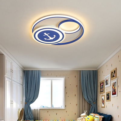 Nautical Circular LED Flush Ceiling Light Acrylic Kids Bedroom Flush Mount Light with Anchor Pattern in Blue-White