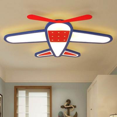 Red-Blue Plane Led Flush Mount Cartoon Metallic Flush Mount Ceiling Light Fixture