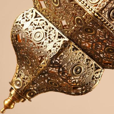 Turkish Lantern Hollowed-out Pendant Lighting Single-Bulb Metal Hanging Lamp in Bronze
