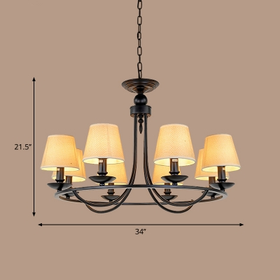Cone Chandelier Light Classic Fabric Pendant Lighting Fixture with Circle Design