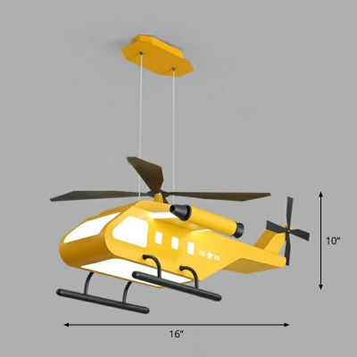 Helicopter LED Chandelier Lamp Kids Style Metal Bedroom Suspended Lighting Fixture