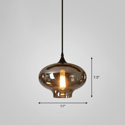 Smoke Gray Glass Shaded Pendant Light Antique 1-Light Dining Room Hanging Light Fixture
