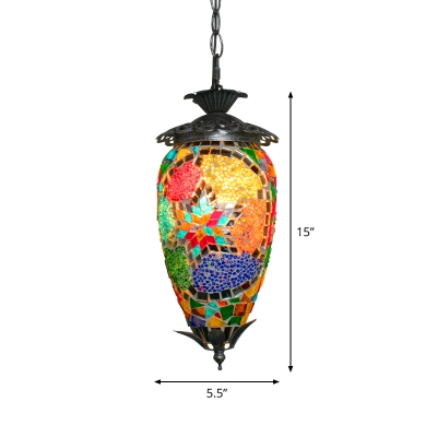Stained Glass Pendulum Light Oval 1-Bulb Bohemian Hanging Light Fixture for Restaurant