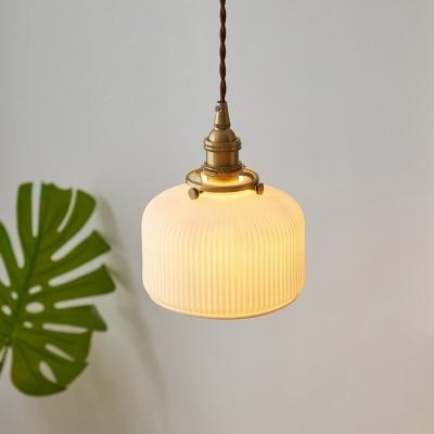 1 Bulb Hanging Lighting Simplicity Lantern Drum Ceramic Pendant Light Fixture in Brass