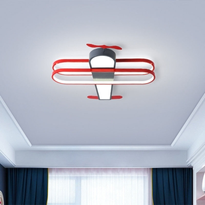 Cartoon Biplane Flush Mount Led Light Metal Childrens Room Ceiling Fixture in Warm Light