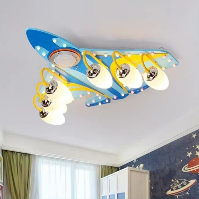 Childrens Aircraft Ceiling Lighting Opaline Glass Boys Bedroom Flush Mounted Light in Blue