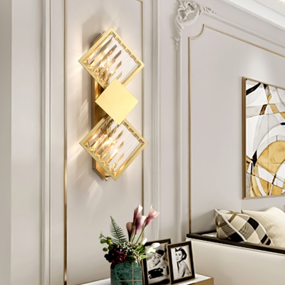 Gold Finish Geometric Wall Light Sconce Postmodern Crystal Wall Mounted Light for Hall