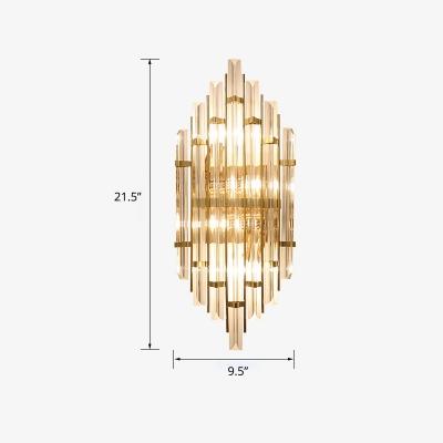 Layered Wall Mount Lighting Modern Clear Rectangular-Cut Crystals Hallway Sconce Lamp