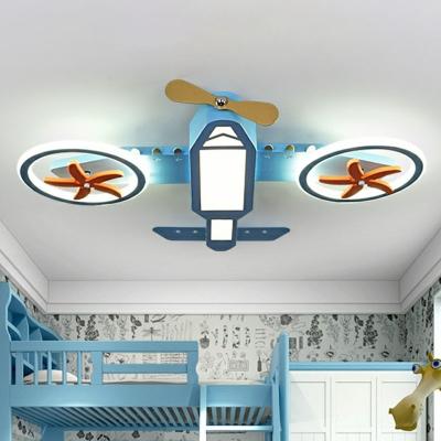 Minimalistic Plane Shaped LED Flush Lamp Acrylic Kids Room Flush Ceiling Light in Blue