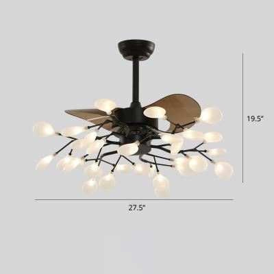 Modern Style Heracleum Ceiling Fan Light Acrylic Living Room Semi Flush Mount Chandelier