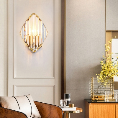 Rhombus Shaped Wall Sconce Lighting Simple Style Crystal 1 Bulb Gold Wall Lamp for Bedroom