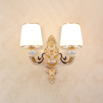 Traditional Shaded Wall Lamp Fixture Frosted White Glass Sconce Light for Stairs