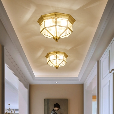 3-Bulb Octagonal Flush Mount Lamp Colonial Style Gold Glass Panes Ceiling Light for Balcony