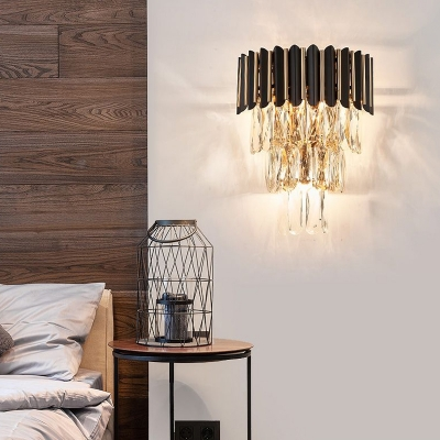 3 Tiers Wall Mount Light Modern Crystal Rectangle 3-Light Bedroom Wall Sconce in Black