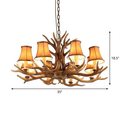 Antler Hanging Light Rural Brown Resin Chandelier Lighting Fixture with Flared Lampshade