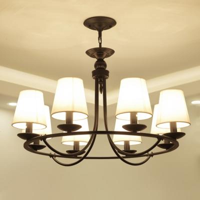 Bucket Fabric LED Chandelier Light Traditional Living Room Pendant Light Fixture in Black