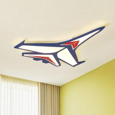 Cartoon LED Led Flush Mount Ceiling Fixture Blue Plane Flushmount Light with Acrylic Shade
