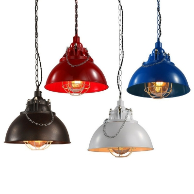 Dome Bistro Pendant Light Kit Loft Metallic 1 Bulb Hanging Light with Chain Handle and Cage