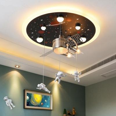 Kids Artificial Satellite Flush Light Metal 3-Bulb Bedroom Ceiling Mounted Fixture in Black