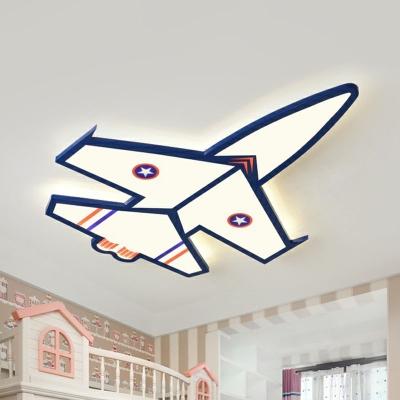 Kids Style Plane Flush Light Acrylic Bedroom LED Led Surface Mount Ceiling Light in Blue