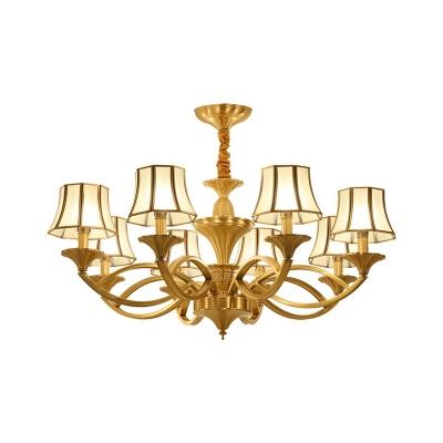 Panel Curved Glass Chandelier Pendant Light Vintage Living Room Hanging Light in Gold