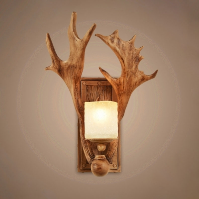 Resin Brown Wall Sconce Lighting Antler 1 Head Rustic Wall Mount Light with Cylinder Frosted Glass Shade