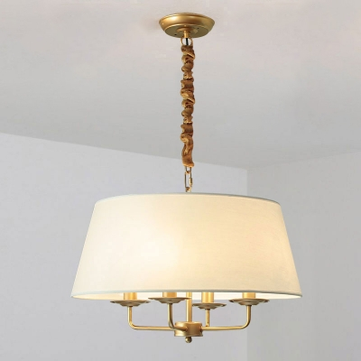 4 Bulbs Fabric Chandelier Classic Tapered Shade Bedroom Suspended Lighting Fixture