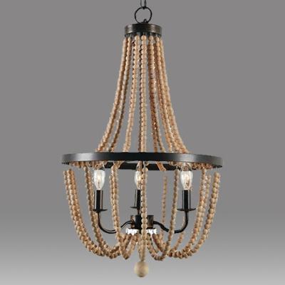 Classic Basket Shaped Ceiling Lighting 3 Heads Wooden Bead Chandelier Light Fixture in Brown