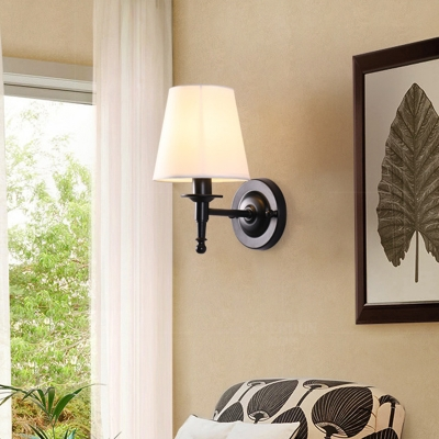 Cone Dining Room Wall Mounted Lamp Traditional Fabric Wall Sconce Lighting Fixture