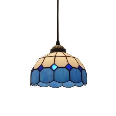 Gridded Glass Blue Pendant Light Scalloped 1 Bulb Mediterranean Hanging Light for Entryway