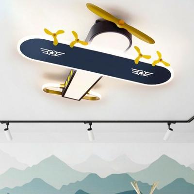 Metal Jet Shaped LED Ceiling Flush Mount Kids Grey Finish Flush-Mount Light Fixture
