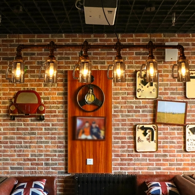 Piping Beer Bar Island Light Industrial Cast Iron Antiqued Bronze Pendant Lamp with Inverted Cup Glass Shade