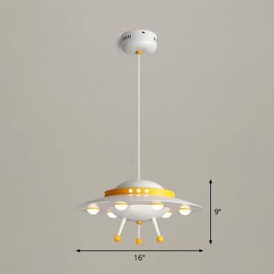 UFO Kids Bedroom Chandelier Light Metallic Creative LED Pendant Lighting Fixture