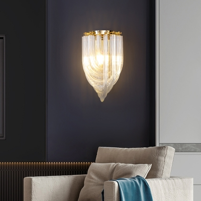 Clear Glass Curved Tube Wall Lamp Fixture Minimalistic 1-Light Gold Finish Wall Sconce