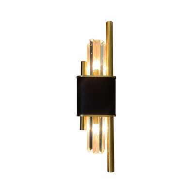Crystal Sticks Sconce Lamp Post-Modern 2 Bulbs Black and Brass Wall Mounted Lighting for Aisle