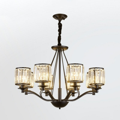 Minimalist Cylindrical Hanging Lamp Clear Crystal Living Room Chandelier Lighting in Black