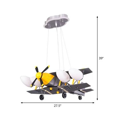 Propeller Plane Hanging Lamp Kids White Glass 4-Head Grey Chandelier for Bedroom