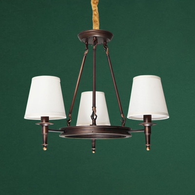 Classic Conical Chandelier Lighting Fabric Ceiling Suspension Lamp for Guest Room