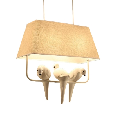 Fabric Trapezoid Hanging Light Kit Country Style Dining Room Pendant Lamp with Bird Decoration in Beige