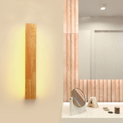 LED Bedroom Wall Sconce Lighting Nordic Beige Wall Lamp with Rectangle Wood Shade