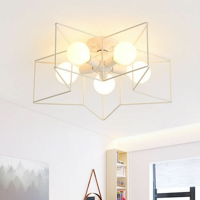 Nordic Star Shaped Cage Ceiling Light 5-Bulb Iron Semi Mount Lighting for Bedroom