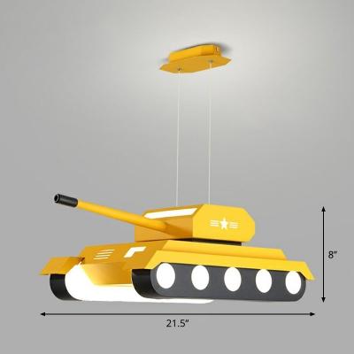 Tank Shaped Hanging Lamp Childrens Metal LED Chandelier Light Fixture for Bedroom