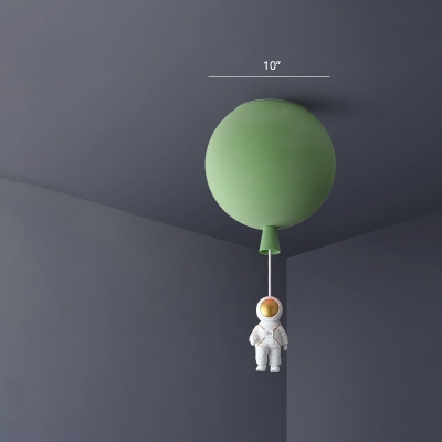 Acrylic Balloon Ceiling Pendant Light Childrens Single-Bulb Hanging Lamp with Spaceman Decoration