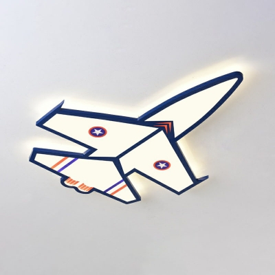 Kids Style Plane Flush Light Acrylic Bedroom LED Led Surface Mount Ceiling Light in Blue